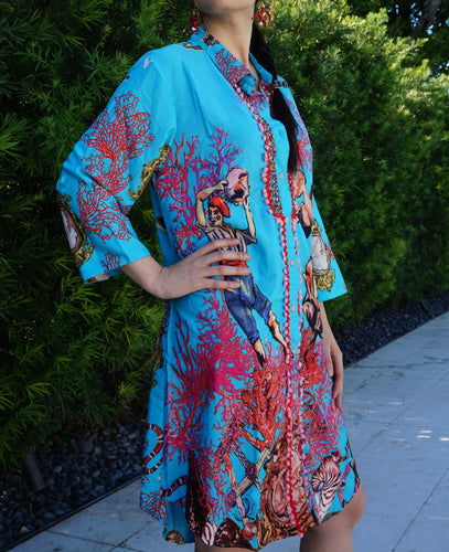 Turquoise and coral design dress - Lovinglam