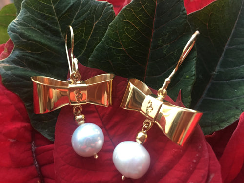 Bow and pearl earrings - Lovinglam