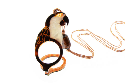 Parrot necklace with a magnifying glass - Lovinglam