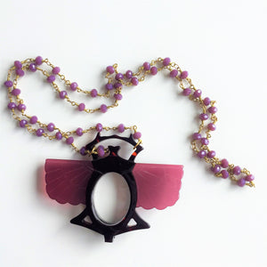 Beetle necklace with a magnifying glass - Lovinglam