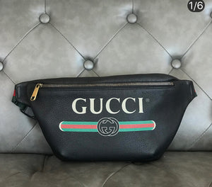 Gucci Print Large Leather Belt Bag/Fanny Pack