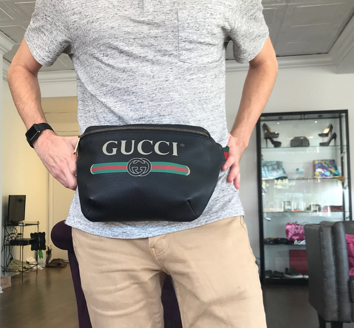21e4f628176b ... Load image into Gallery viewer, Gucci Print Large Leather Belt Bag/Fanny  Pack ...