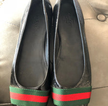 Load image into Gallery viewer, Gucci Leather Web Flats