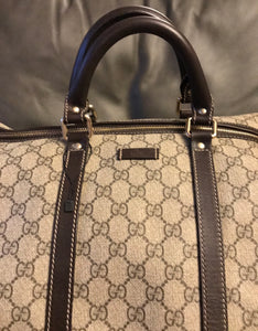 Gucci Beige/Brown GG Coated Canvas Large Carry-On Duffle Bag