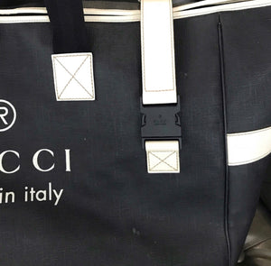 Gucci Coated Canvas Large Trademark Logo Travel Tote