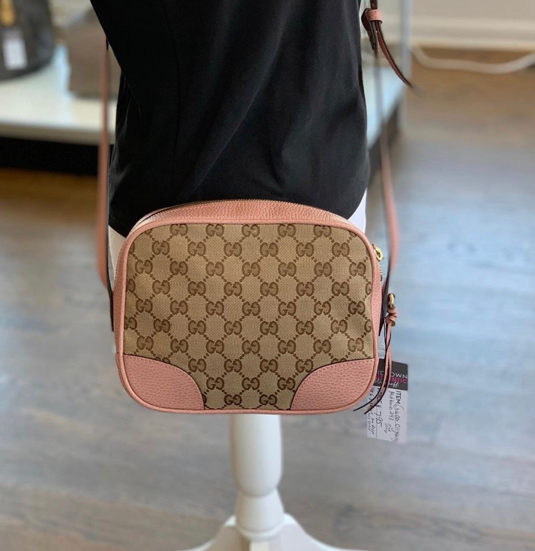 Gucci Camera Bree Gg Guccissima Beige Pink Leather Cross Body Bag