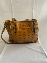 Load image into Gallery viewer, MCM 2 Way Drawstring Cognac Bucket Tote