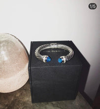 Load image into Gallery viewer, David Yurman Blue Topaz Hampton Cuff and Diamond Cable Bracelet (7MM)