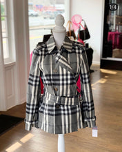Load image into Gallery viewer, Burberry Metallic Gray/Black Tone Check Cropped Trench Jacket
