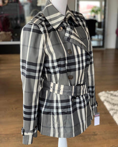 Burberry Metallic Gray/Black Tone Check Cropped Trench Jacket