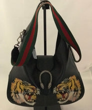 Load image into Gallery viewer, Gucci Tiger Embroidered Leather Shoulder Bag
