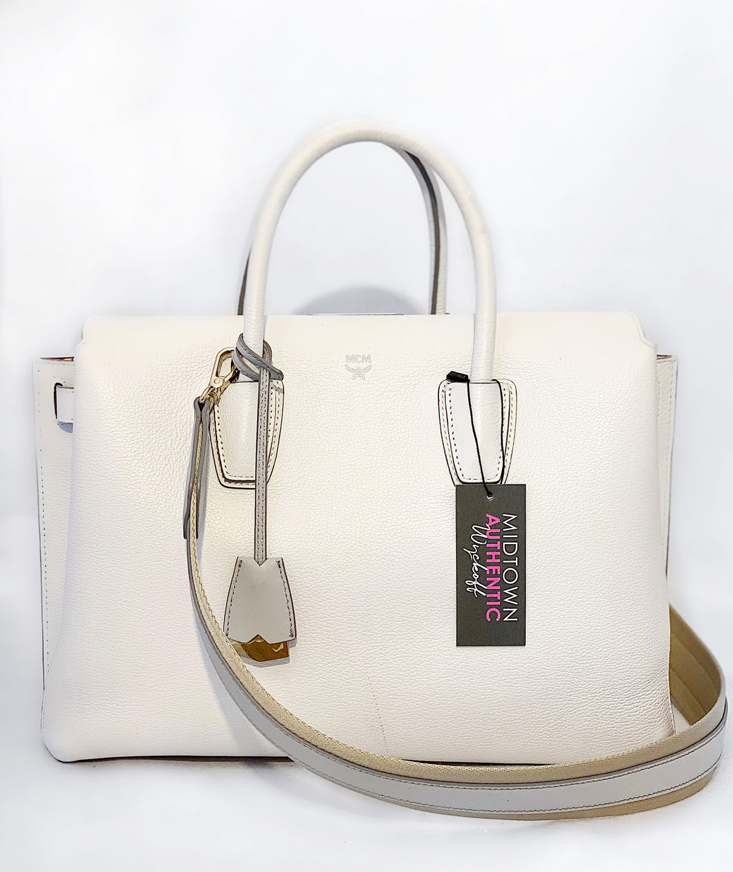 MCM White Leather Tote