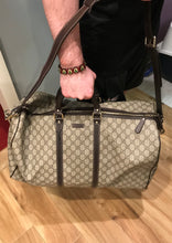 Load image into Gallery viewer, Gucci Beige/Brown GG Coated Canvas Large Carry-On Duffle Bag
