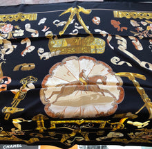 Load image into Gallery viewer, Hermès Blue Silk Copeaux Latham Equestrian Gold Ivory Scarf/Wrap