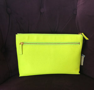 Burberry Duncan Zip Pouch Bright Yellow Leather Clutch