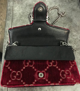 Gucci Dionysus GG Velvet Super Mini Red Shoulder Bag