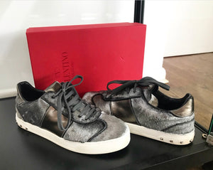 Valentino Grey Stud Sneakers