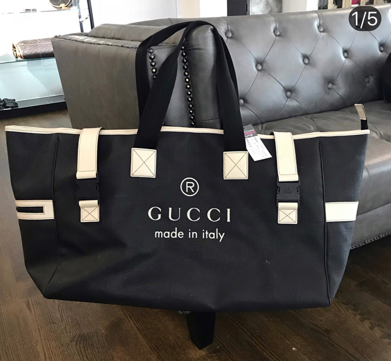 38f5653b1d3 Gucci Coated Canvas Large Trademark Logo Travel Tote – Midtown ...