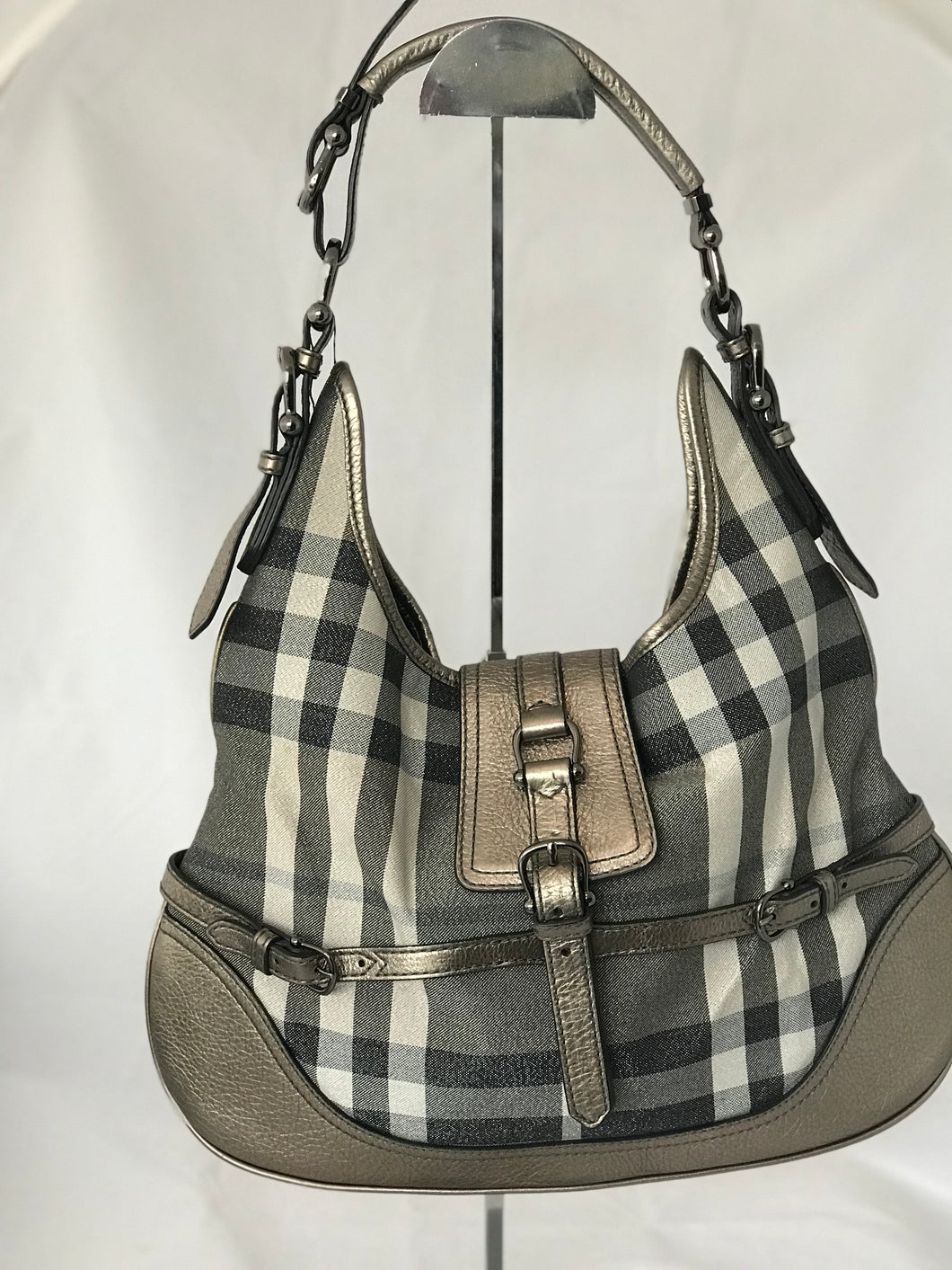 Burberry Jacquard Plaid Hobo