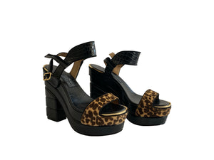 Ferragamo Black Leopard Platform Horse Hair Calf Leather Sandals