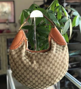 Gucci GG Canvas & Leather Buckle Hobo