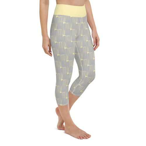 *Gray Brushstroke* Capri-Length Yoga Leggings
