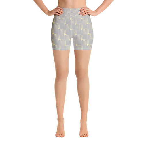 *Gray Brushstroke* Ladies Yoga Shorts