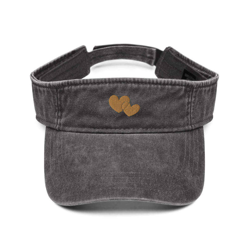 *Heart of Gold* Embroidered Denim visor
