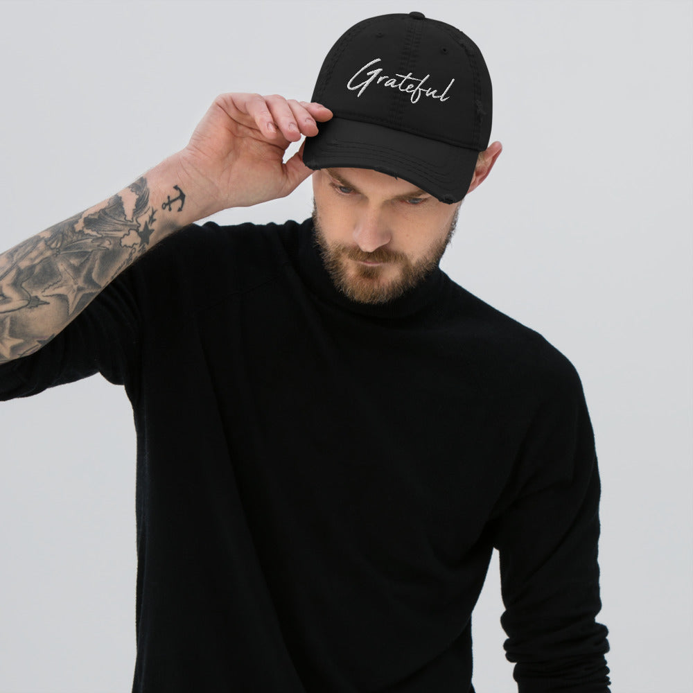 *Grateful* Design Embroidered Distressed Dad Hat