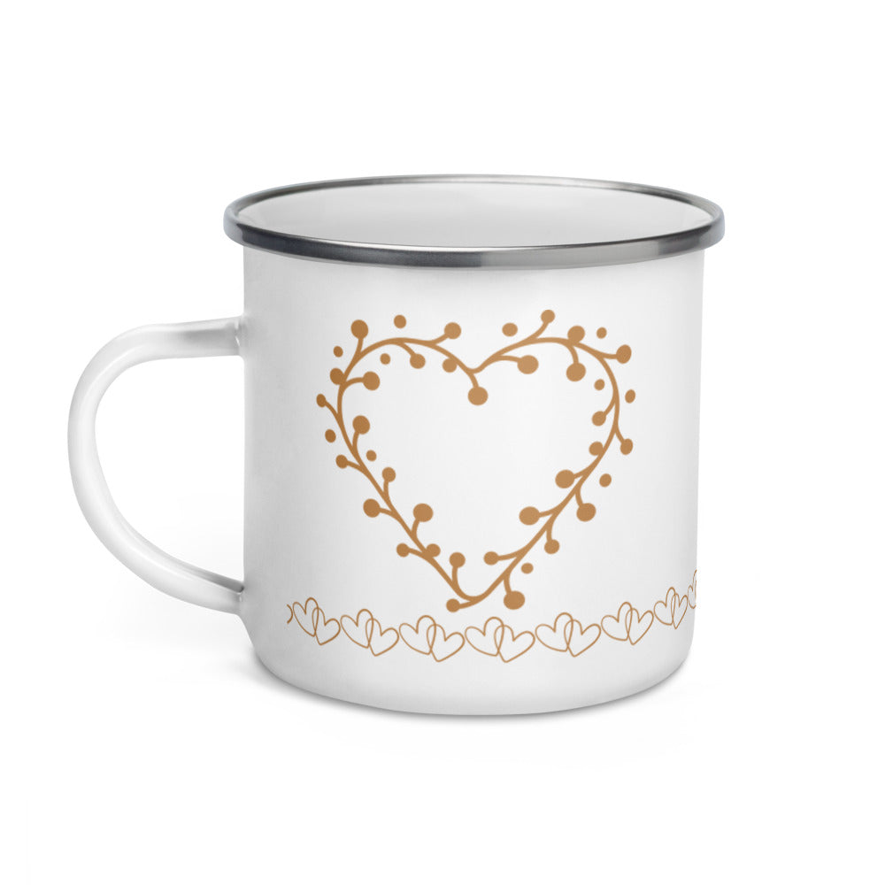 *Heart of Gold* Design Enamel Mug