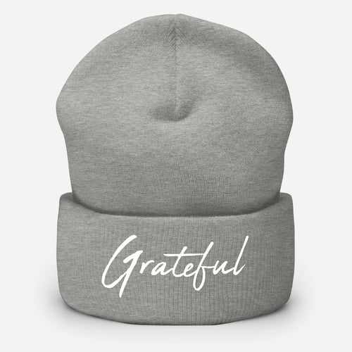 *Grateful* Design, Embroidered Cuffed Beanie Hat