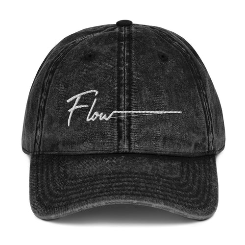 *Flow* Embroidered Vintage Cotton Twill Cap