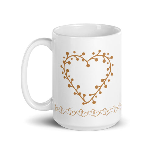 *Heart of Gold* Design, White glossy mug
