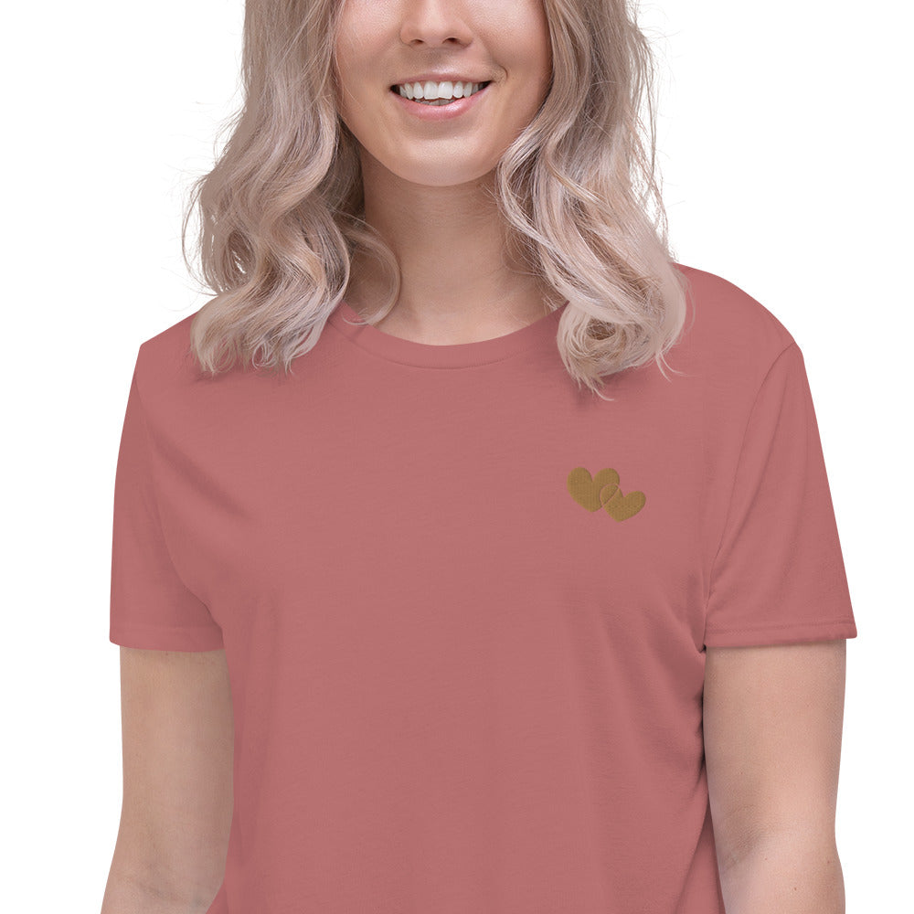 *Heart of Gold* Embroidered Crop Short-Sleeve Tee
