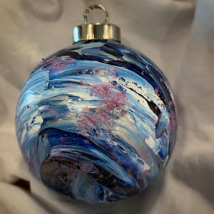 Holiday Ornament Swirl Blue/Silver/White/Lavender (ball)