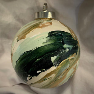 Holiday Ornament Green/White/Gold/Silver Swirl (ball)