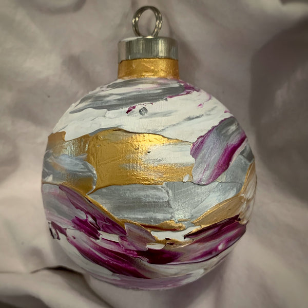 Holiday Ornament Deep Magenta/Gold/Silver (ball)