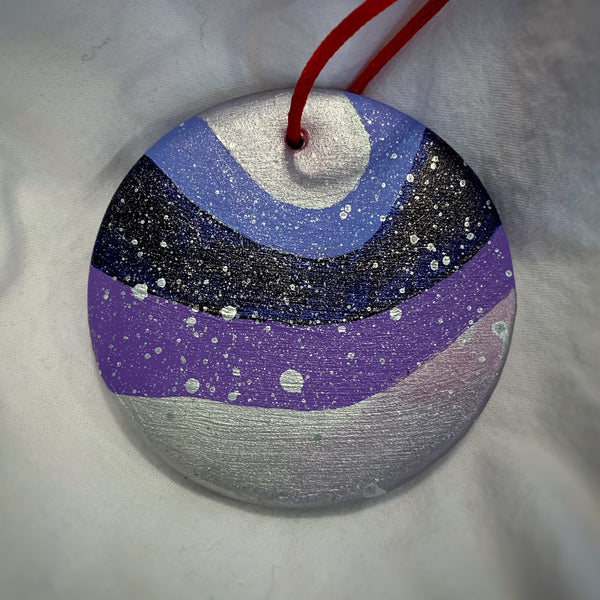 Holiday Ornament Blue/Purple/Silver Ribbons (disc)