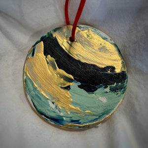 Holiday Ornament Greens/Gold Swirl (disc)
