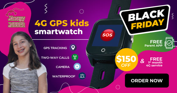 Monkey Jabber Kids 4G GPS smartwatch with camera