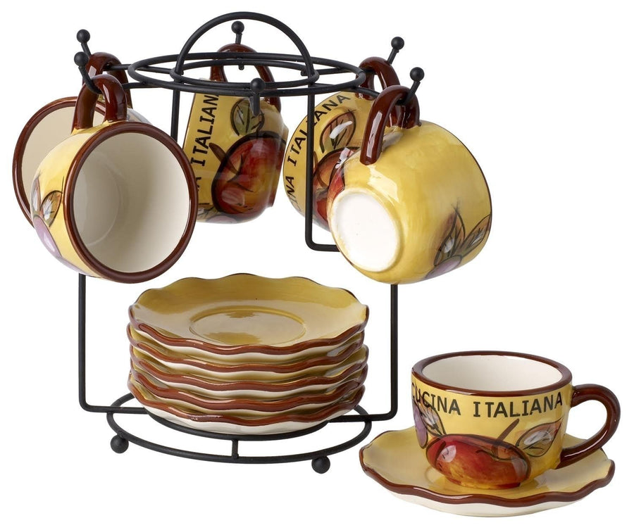 Cuccina Italiana  Ceramic Espresso and Coffee Cups & Saucers 13 pcs