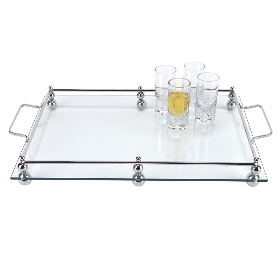 Classic Glass Serving Tray with Chrome Border