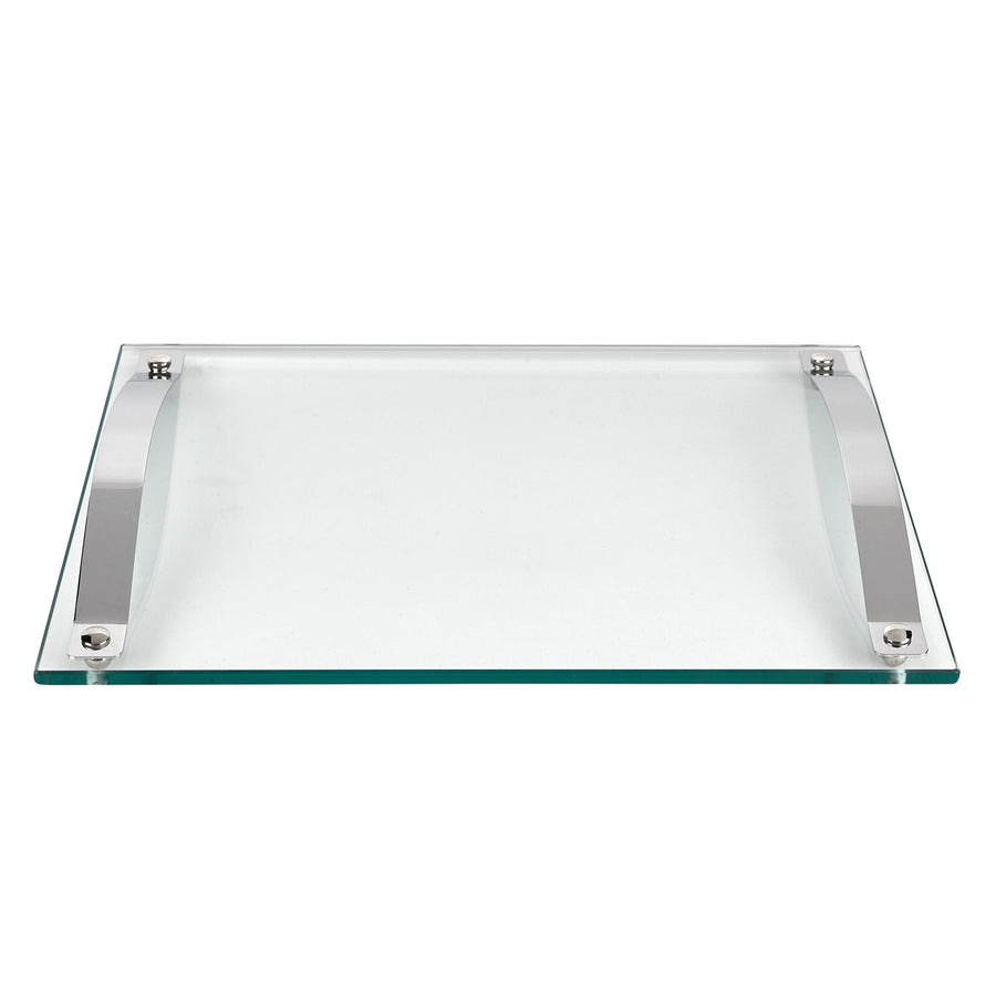 Contempo Rectangular Glass Serving Tray with Chrome Handles