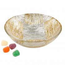 Cubes 6'' Handcrafted Silver and Gold Glass Bowl