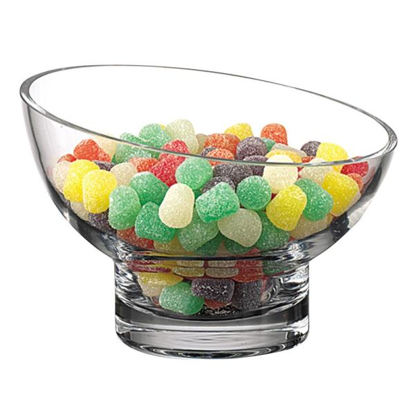 Kira Lead Free Mouth Blown Slant Cut Candy Bowl