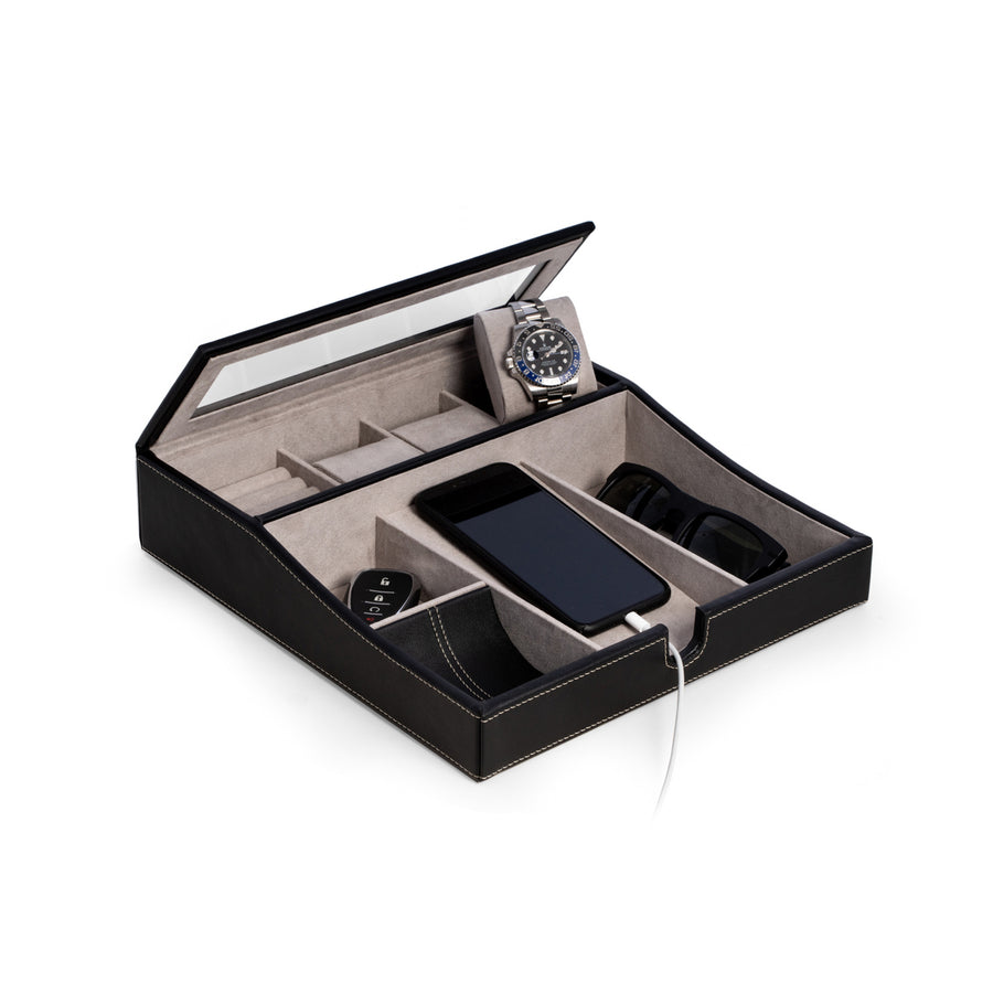 Black Leather Valet Box For Watches Change
