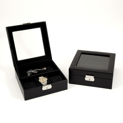 Black Leather Watch And Accessory Case