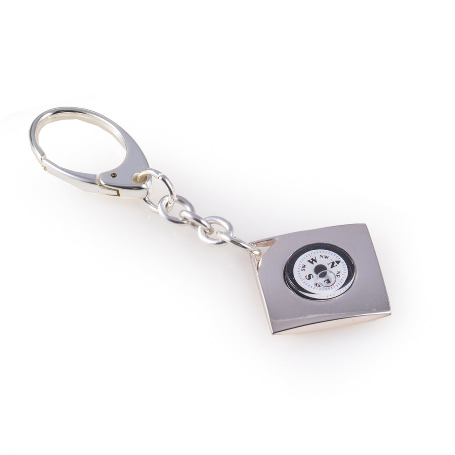 Key Ring With Compass Silver Plated