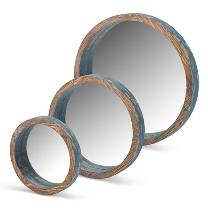 Blue Wood Round Mirrors Set of 3 (Only Available Through Haiti Showroom)