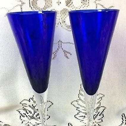 Blue Crystal Glasses Flute and Wine 24 Pieces